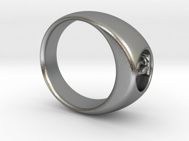 Ø0.716 inch/Ø18.19 Mm Cuddle Cat Ring in Natural Silver