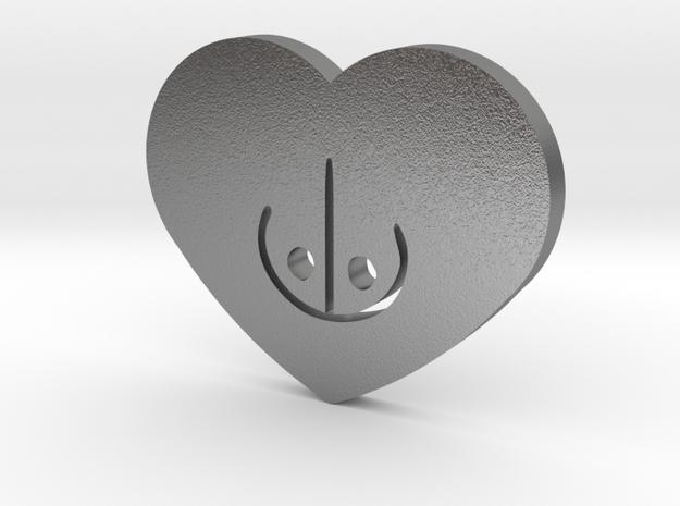 Moon-glyph-heart-fire in Raw Silver