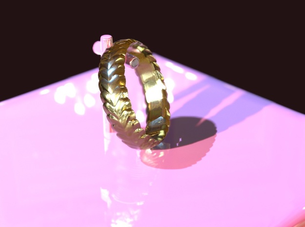 Hearts ring 15 mm in 18k Gold Plated Brass