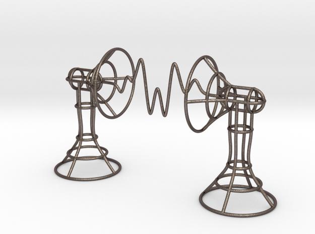 Audio waveform speakers art in Polished Bronzed Silver Steel