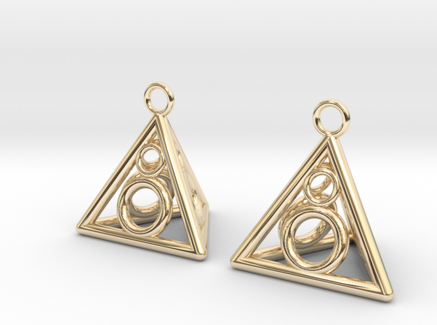 Pyramid triangle earrings serie 3 type 3 in 14k Gold Plated Brass