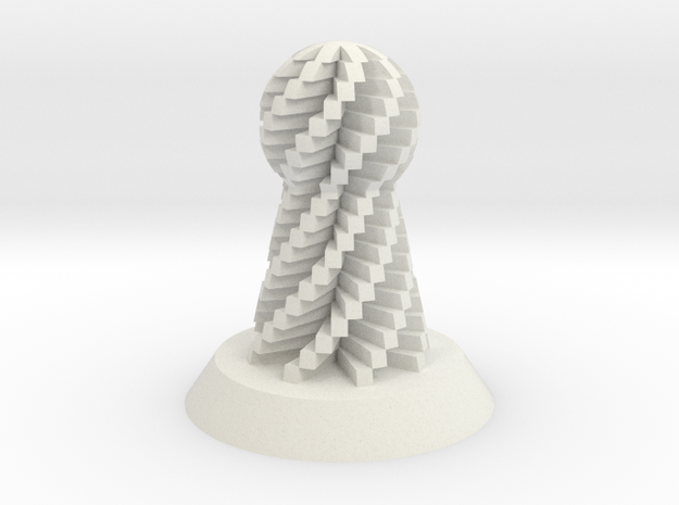 Pawn Spiral in White Natural Versatile Plastic
