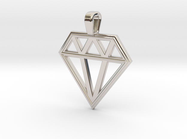 Diamond in Rhodium Plated Brass