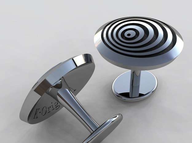 Vortex cufflink in Polished Silver