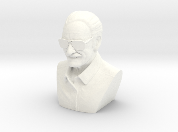 4 Inch Stan Lee Bust in White Processed Versatile Plastic