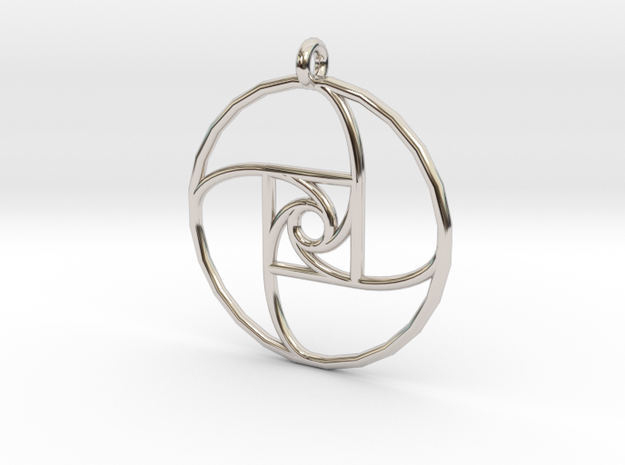 Square Spiral Pendant in Rhodium Plated Brass