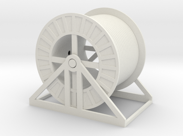 O Scale Steel Cable Reel Full 1:43.5 in White Natural Versatile Plastic