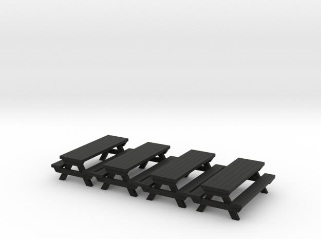 Picnic Table - 72:1 Scale (4) in Black Natural Versatile Plastic