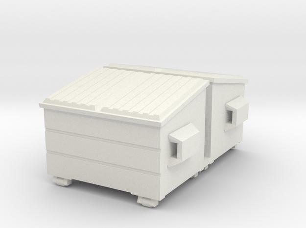 Dumpster 72:1 Scale (2) in White Natural Versatile Plastic