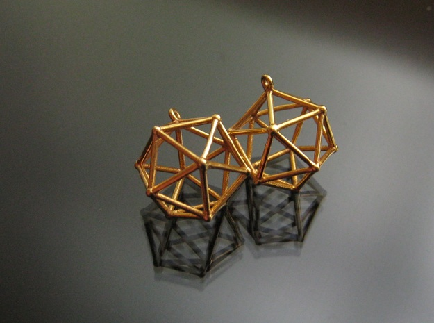Icosahedron earrings 3d printed Icosahedron Earrings