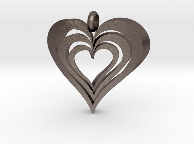 Interlocked Hearts Pendant in Polished Bronzed Silver Steel