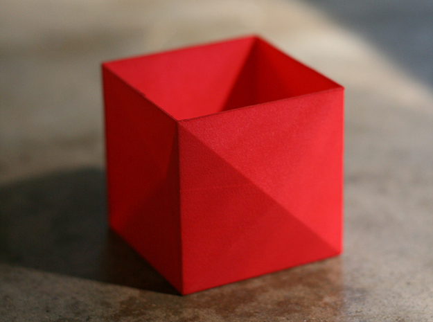 Tessellating Boxes 3d printed One Coral Red Strong & Flexible polished box.