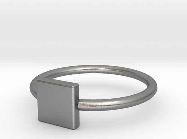 Square Ring Size 6 in Raw Silver
