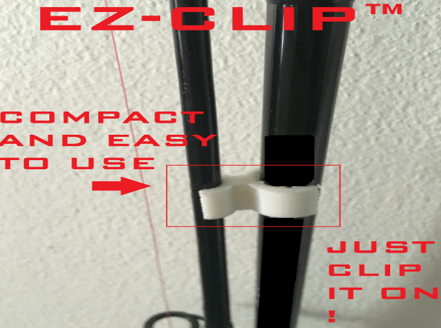 EZ-CLIP - Universal Fishing Rod Clip in White Strong & Flexible