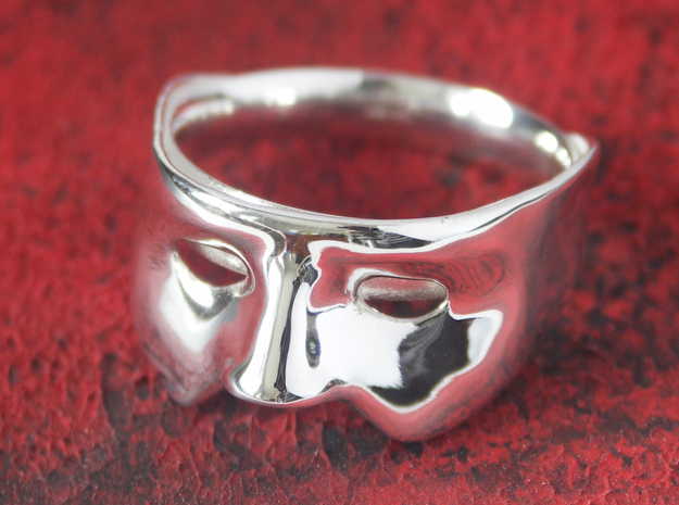 Mask Ring - US Size 12 in Polished Silver