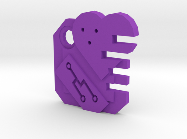Integrated Heart  in Purple Processed Versatile Plastic