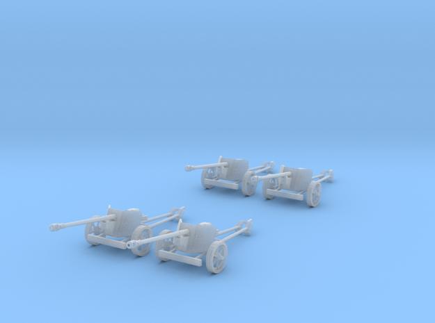 1/100 15mm scale Pak40 german anti tank gun set 4 in Smooth Fine Detail Plastic