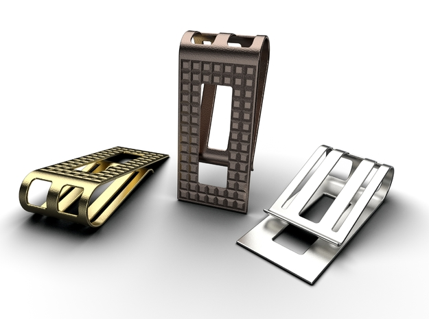 Square Pattern Money Clip 1 in Polished Metallic Plastic