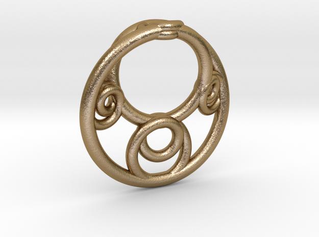 Möbius Fractal Pendant in Polished Gold Steel