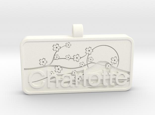 Charlotte Name Tag kanji katakana in White Processed Versatile Plastic