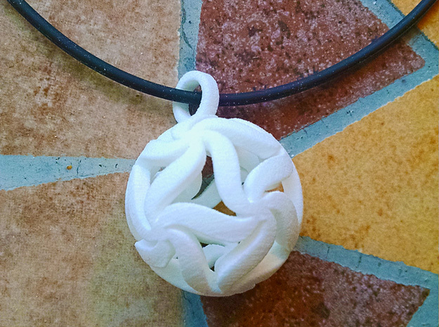 Star Ball Floral (Pendant Size) in White Processed Versatile Plastic