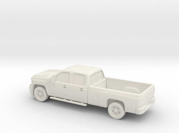 1/64 2011 Chevrolet Silverado HD CrewCab Long Bed  in White Natural Versatile Plastic