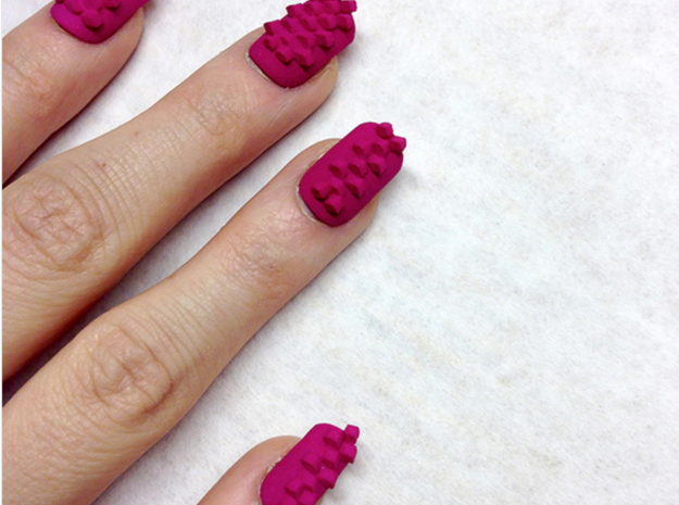 Cube Nails (Size 2) 3d printed Pink Strong and Flexible Polished