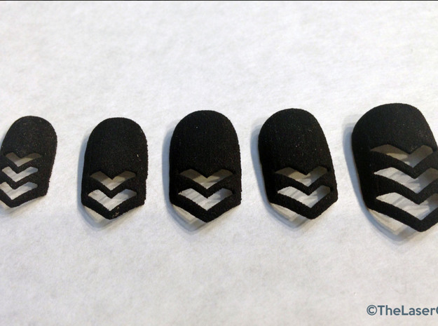Chevron Nails (Size 0) 3d printed Black Strong and Flexible