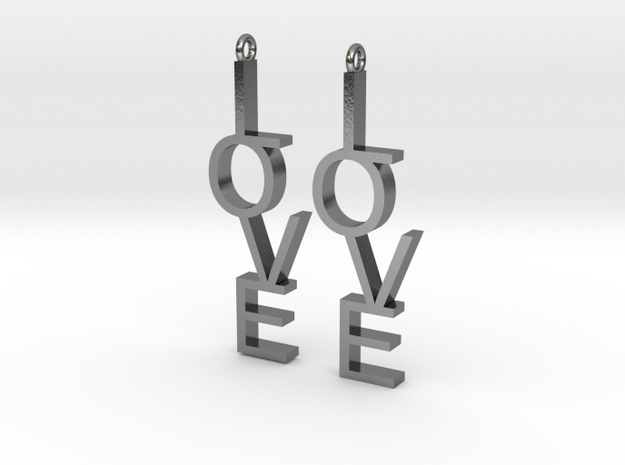 Love Earrings Small  in Polished Silver