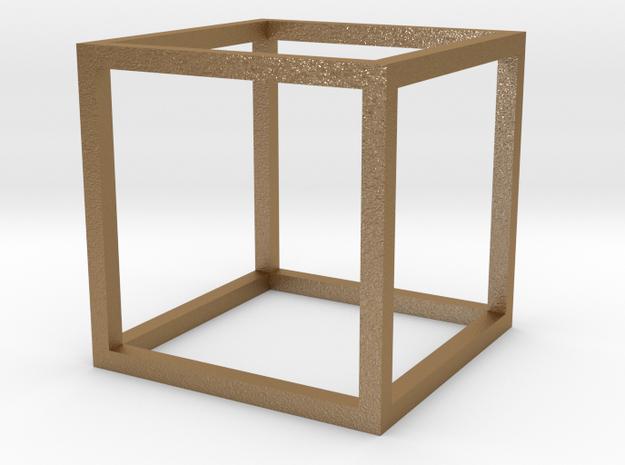 Cube Pendant in Matte Gold Steel