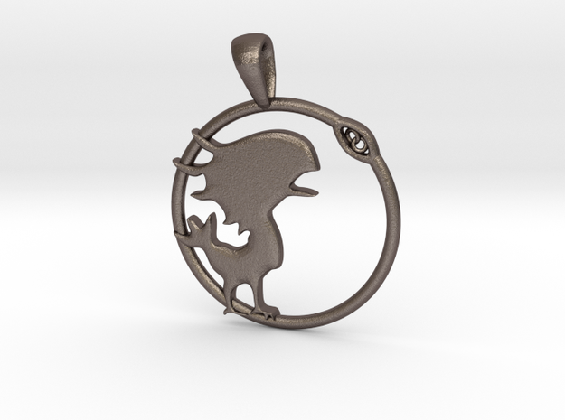 Chocobo Pendant in Polished Bronzed Silver Steel