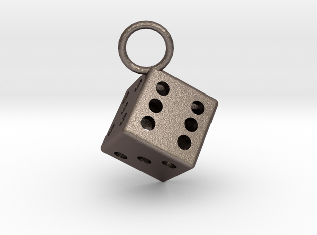 Charm: Dice in Polished Bronzed Silver Steel