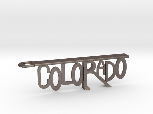 Colorado Bottle Opener Keychain in Polished Bronzed Silver Steel