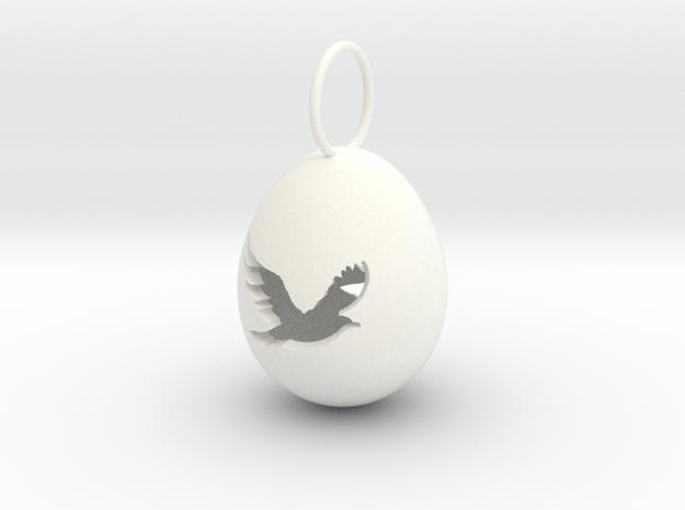 Bird Egg Pendant in White Processed Versatile Plastic