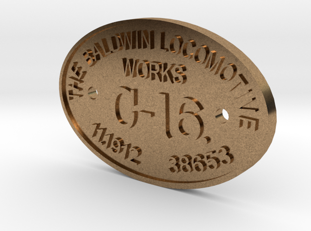 "3/4"" Scale C-16 Builders Plate in Natural Brass"