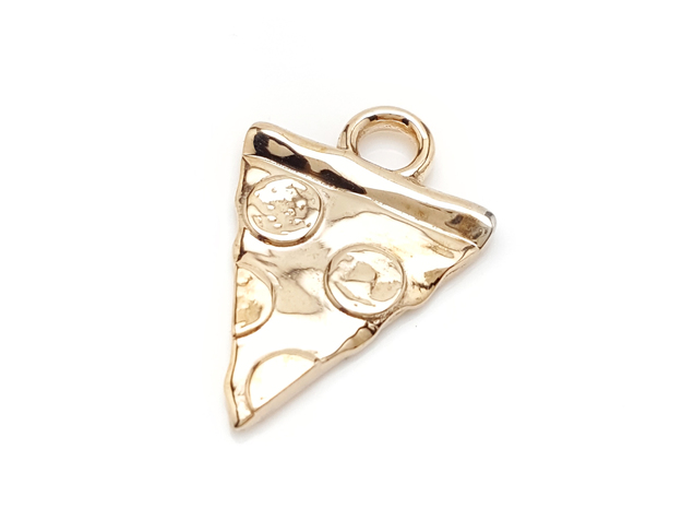 Pizza Charm in Polished Bronze