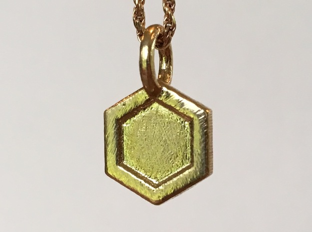Honeycomb Charm in Natural Brass