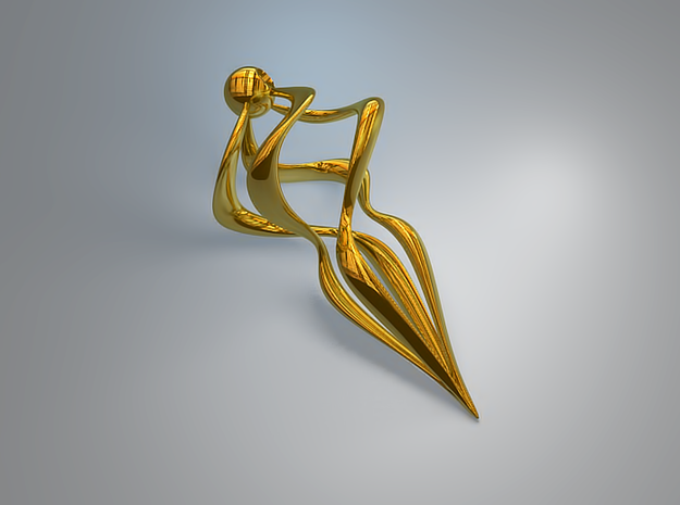 Twisted (Earring or Pendant) 3d printed Twisted (Gold)