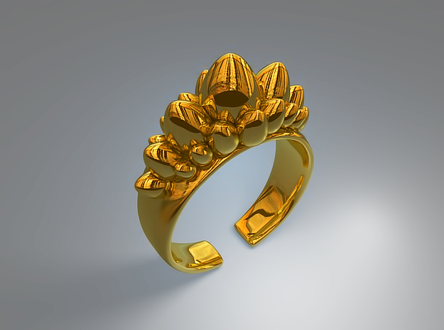 Dino Eggs Ring in Natural Brass