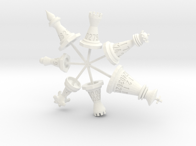 Attached 7 Chess Piece Dice Set (with sprues)