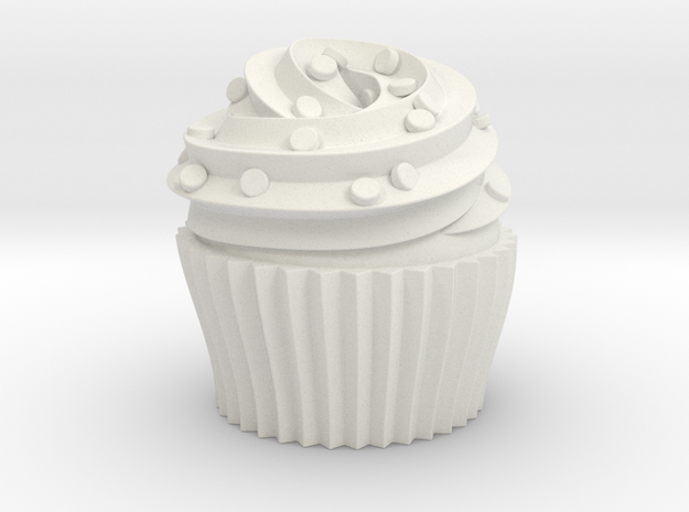 Cupcake Swirl Party Favor in White Natural Versatile Plastic