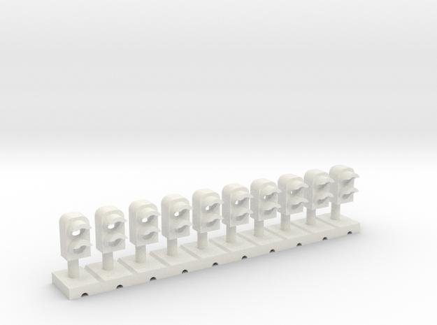 Dwarf Signal 2 Light (10) - HO 87:1 Scale in White Natural Versatile Plastic