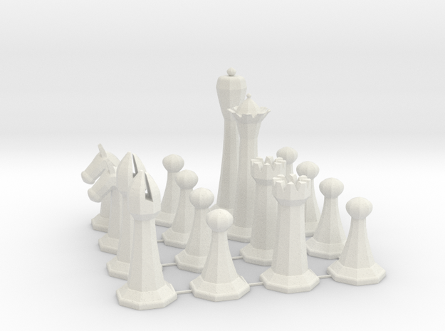 Chess Set in White Natural Versatile Plastic