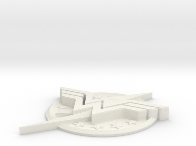 "WW-FlashLogo- 2"" Version in White Natural Versatile Plastic"