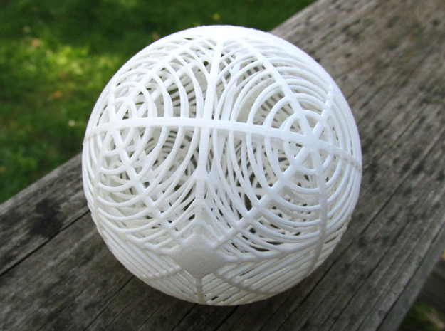 Moiré Sphere in White Natural Versatile Plastic