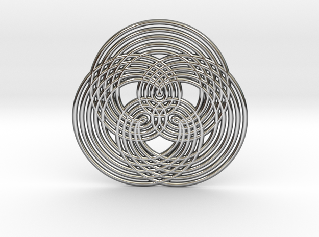 0573 Triple Rotation Of Points (5 cm) #005 in Fine Detail Polished Silver