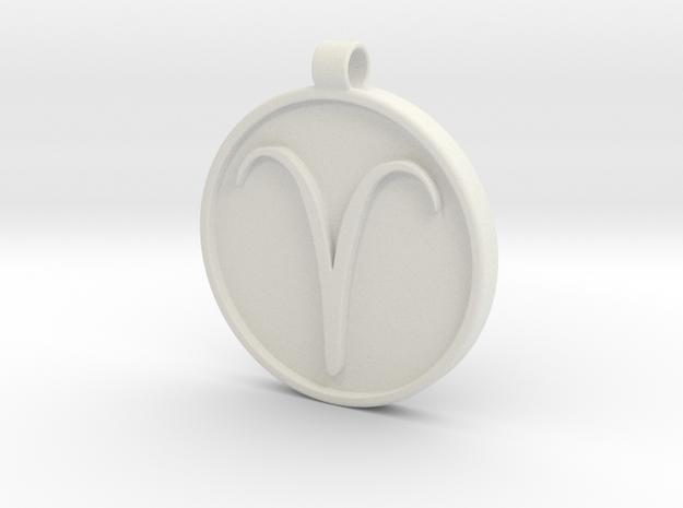 Zodiac KeyChain Medallion-ARIES in White Natural Versatile Plastic