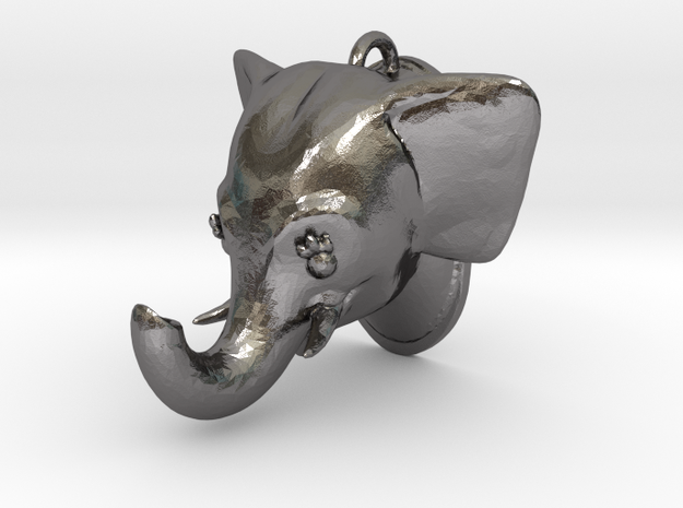 Stylized Elephant Pendant in Polished Nickel Steel