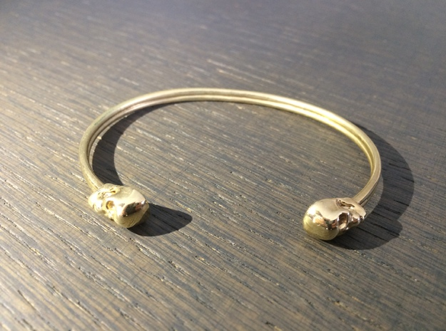 Double Banded Skull Cuff in Polished Brass: Large