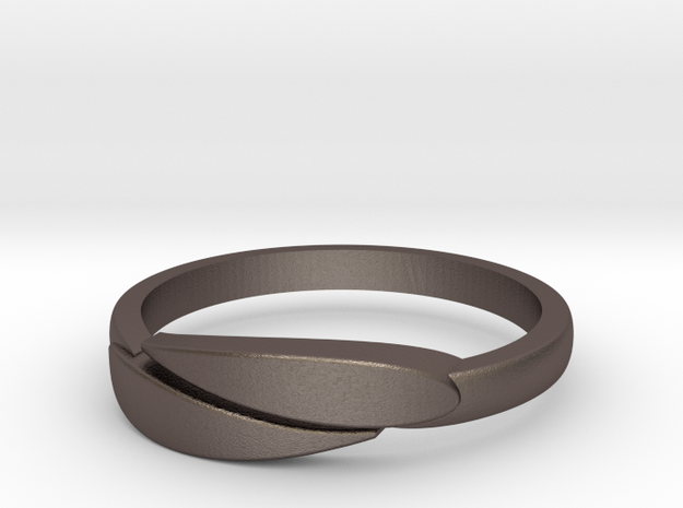 Ring Leaf in Polished Bronzed Silver Steel